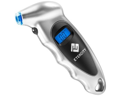 Etekcity Digital Tire Gauges, 150 PSI Compact Lightweight Measurement Tool with Lighted Nozzle, Backlit LCD and Non-Slip Grip, 4 Pressure Units for Bike, Car, Truck